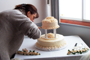 Anne Donkers from Sweet Indulgences is putting the final touches to a very special cake.
